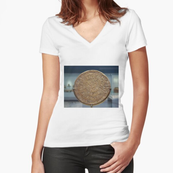 Phaistos Disc #PhaistosDisc #Phaistos #Disc, antique, ancient, wealth, old, copper, currency, brass, art, symbol Fitted V-Neck T-Shirt