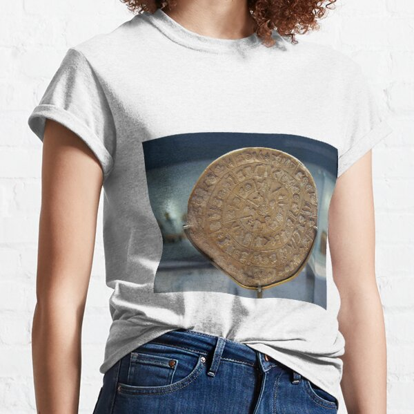 Phaistos Disc #PhaistosDisc #Phaistos #Disc, antique, ancient, wealth, old, copper, currency, brass, art, symbol Classic T-Shirt