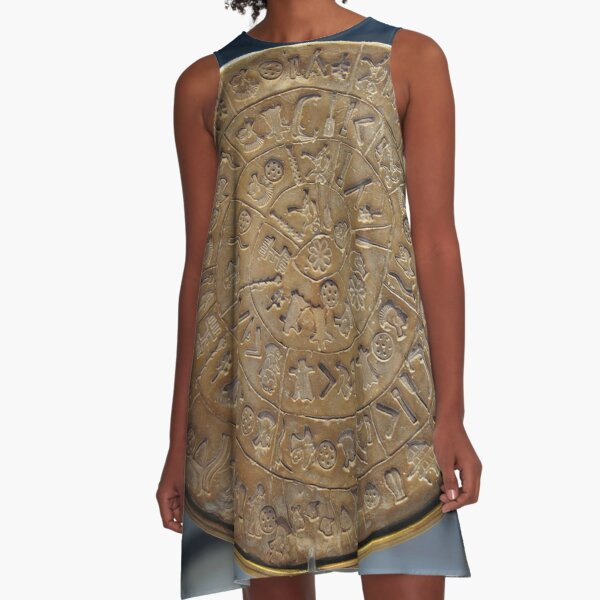 Phaistos Disc #PhaistosDisc #Phaistos #Disc, antique, ancient, wealth, old, copper, currency, brass, art, symbol A-Line Dress
