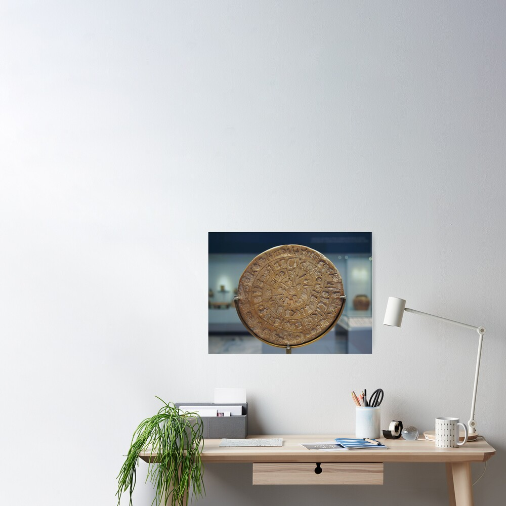 Phaistos Disc #PhaistosDisc #Phaistos #Disc, antique, ancient, wealth, old, copper, currency, brass, art, symbol Poster