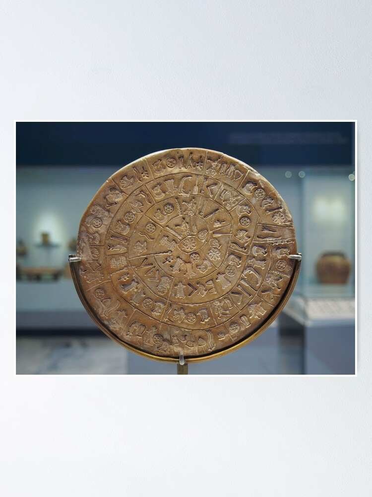 Alternate view of Phaistos Disc #PhaistosDisc #Phaistos #Disc, antique, ancient, wealth, old, copper, currency, brass, art, symbol Poster