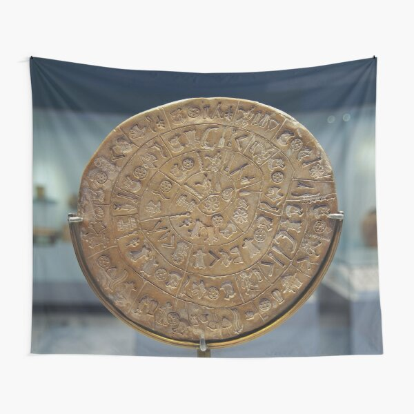 Phaistos Disc #PhaistosDisc #Phaistos #Disc, antique, ancient, wealth, old, copper, currency, brass, art, symbol Tapestry