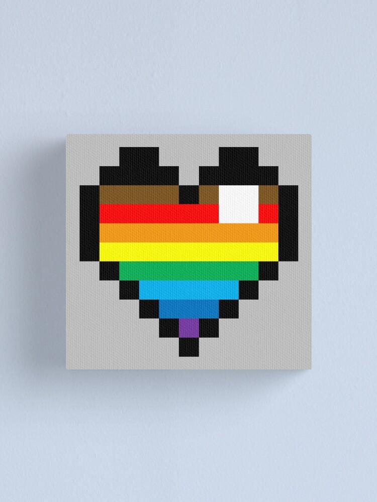 Impression Sur Toile Pixel Coeur Rainbow Par Lucy Lucifer25 Redbubble