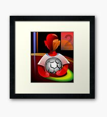 Amusing moment of the baby with a ball in his hand	 Framed Print