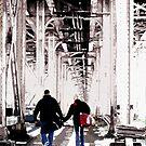 couple under el, chicago by brian gregory
