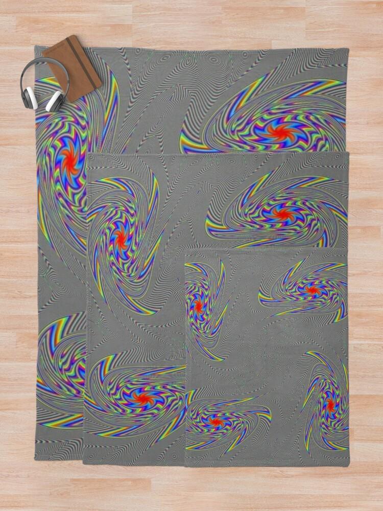 Alternate view of #Abstract, #decoration, #design, #pattern, ornate, art, illustration, creativity, curve, rainbow, shape Throw Blanket