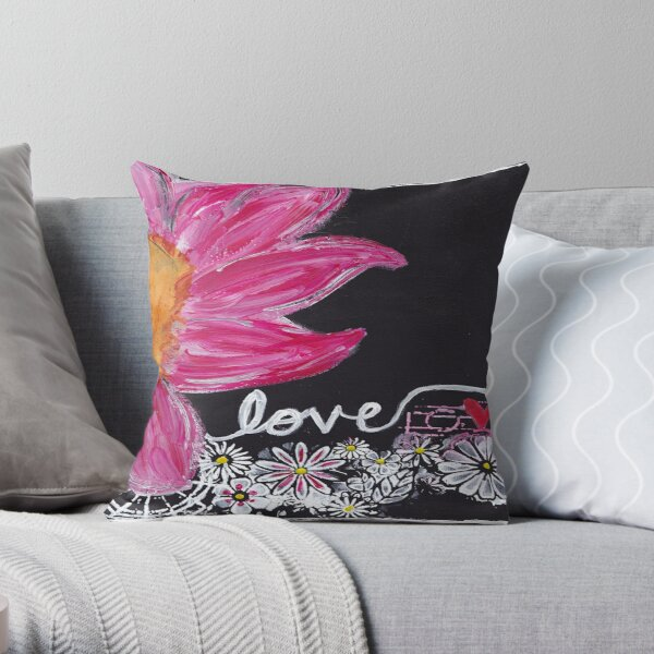 Pink Floral Love Throw Pillow