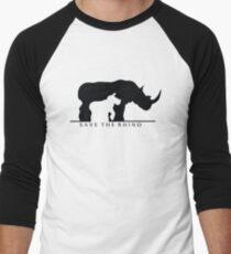 Save The Rhino (White Background) Men's Baseball ¾ T-Shirt
