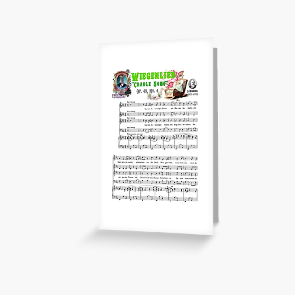 """Brahms Music Sheet Wiegenlied """"Cradle Song"""" Lullaby Baby Shower Zebra Greeting Card"""