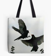 Squabbling Blackbirds Tote Bag