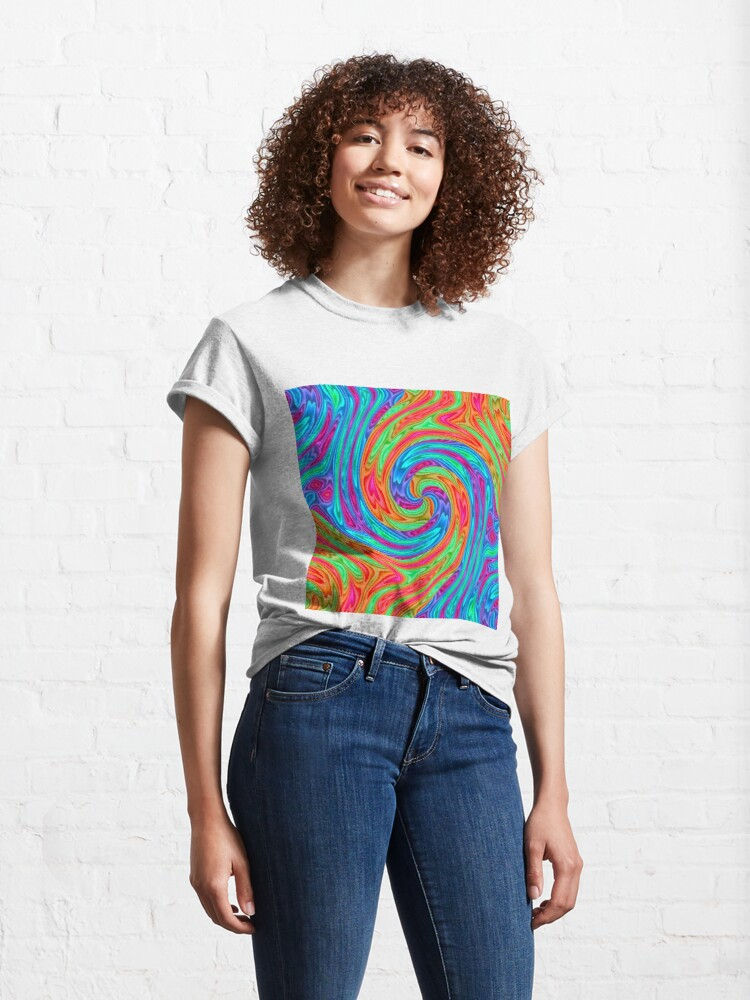 Alternate view of #Vortex, #twist, #illusion, #abstract, design, pattern, illustration, psychedelic, repetition, art, decoration, creativity, twirl, hypnosis Classic T-Shirt