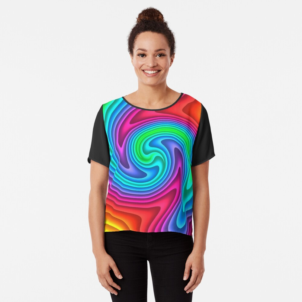 #Vortex, #twist, #illusion, #abstract, design, pattern, illustration, psychedelic, repetition, art, decoration, creativity, twirl, hypnosis Chiffon Top