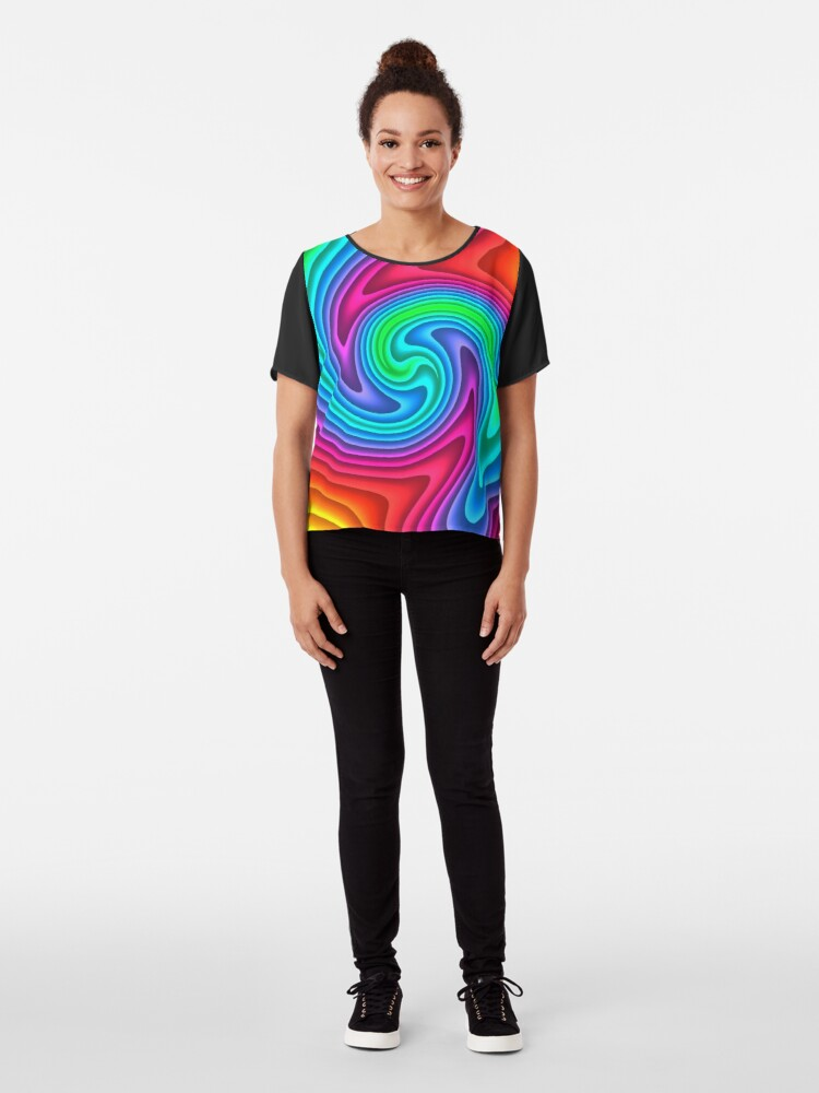 Alternate view of #Vortex, #twist, #illusion, #abstract, design, pattern, illustration, psychedelic, repetition, art, decoration, creativity, twirl, hypnosis Chiffon Top