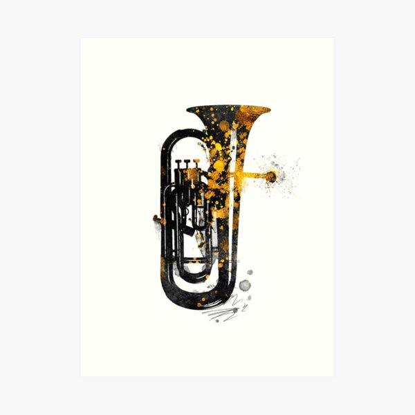 Euphonium music art gold and black #euphonium #music Art Print