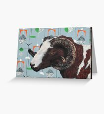 Jacob Ram against Marian Mahler fabric Greeting Card
