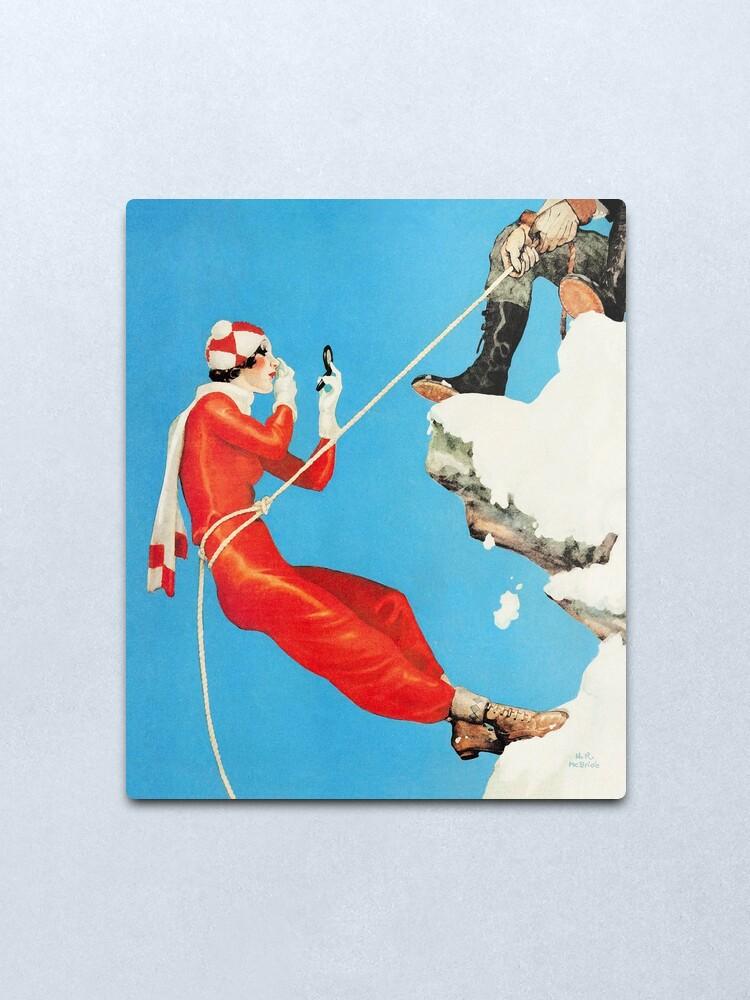 Alternate view of Playful control mountain climbing couple playful fashion art Metal Print