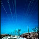 Icy Power Lines by Manfred Belau