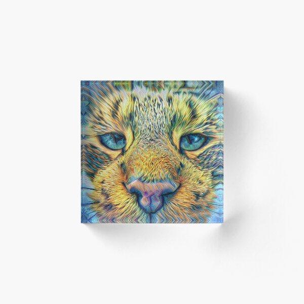 #DeepDreamed Cat v1449127170 Acrylic Block