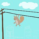 Squirrel On A Wire by mikepop
