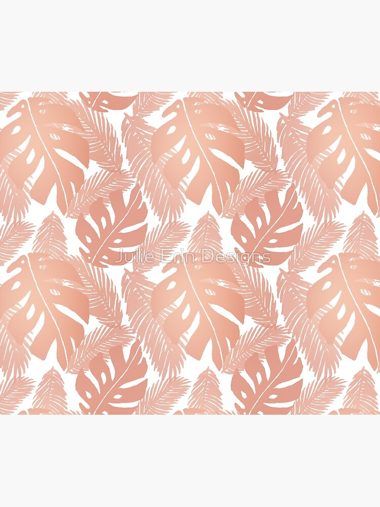 Rose Gold Tropical Leaf Monstera Pattern by julieerindesign