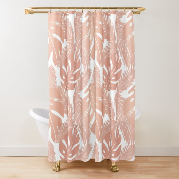 Rose Gold Tropical Leaf Monstera Pattern Shower Curtain