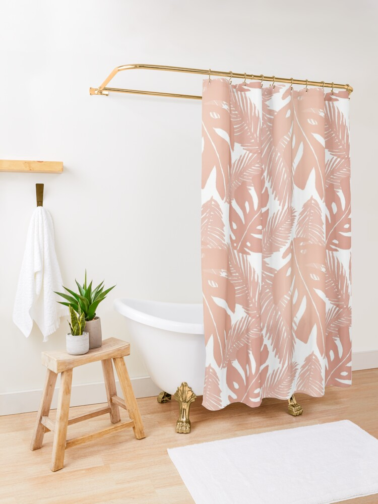 Alternate view of Rose Gold Tropical Leaf Monstera Pattern Shower Curtain