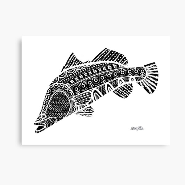 #517 - NATHALIE LE RICHE - ART and GIFTS - BARRAMUNDI BNW FISH - Wise Words Canvas Print