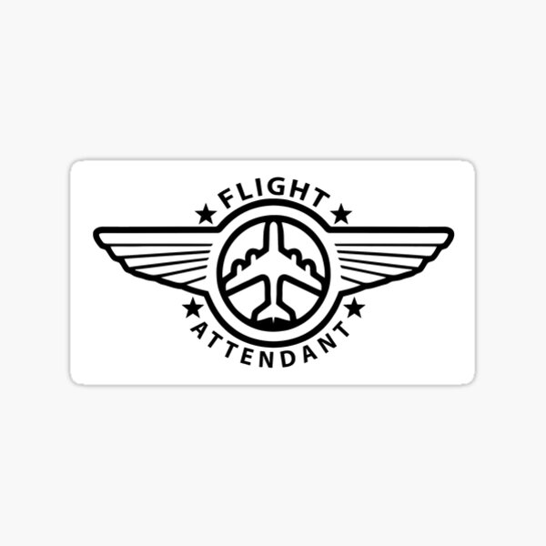 Flight Attendant Wings - White Sticker