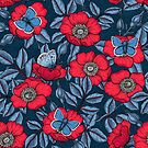 Dog rose and butterflies in blue and red by Katerina Kirilova