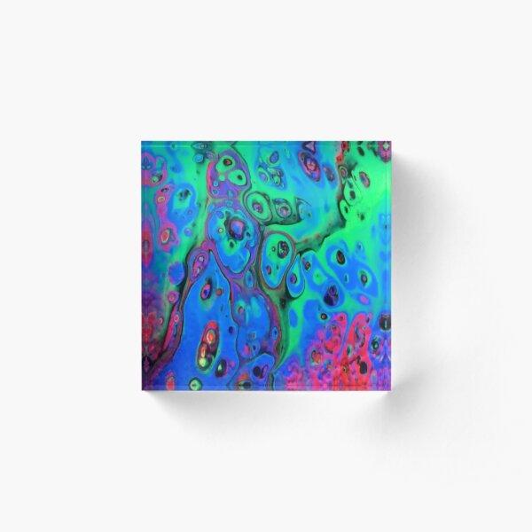 Rainbow Planet by Super Fluid Soul, Fluid Acrylic Paint Pour Acrylic Block