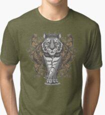 Tiger with Floral Art Deco Tri-blend T-Shirt