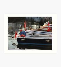 The flags in the boats-TURKEY Art Print