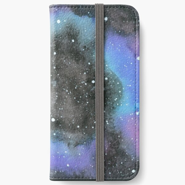 Galaxy Watercolour, Round iPhone Wallet