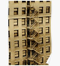 Emergency Stairs Sepia Poster