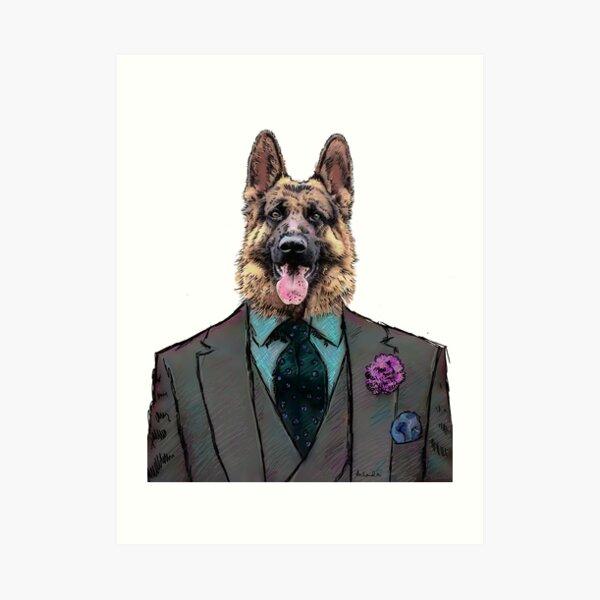 Alsatian Dog Three-piece suit Art Print