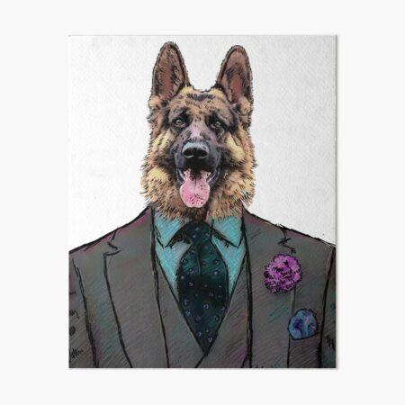 Alsatian Dog Three-piece suit Art Board Print