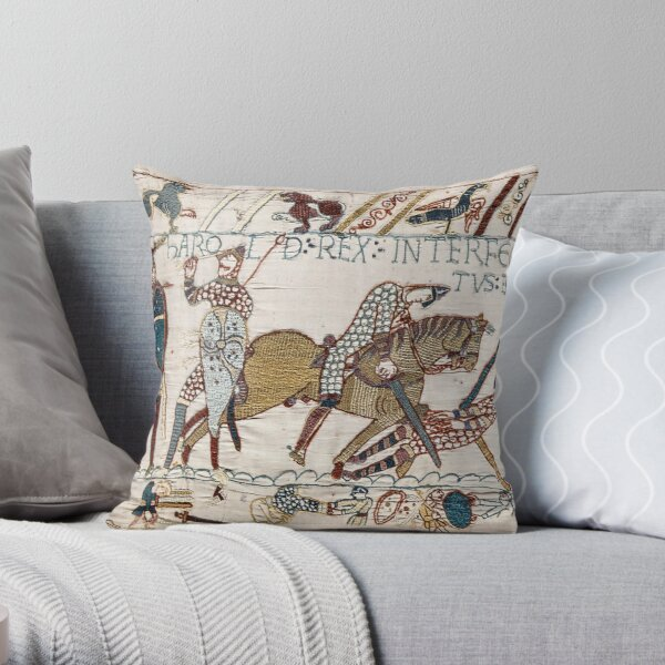 Bayeux Tapestry. King Harold is killed. Arrow in eye. Throw Pillow
