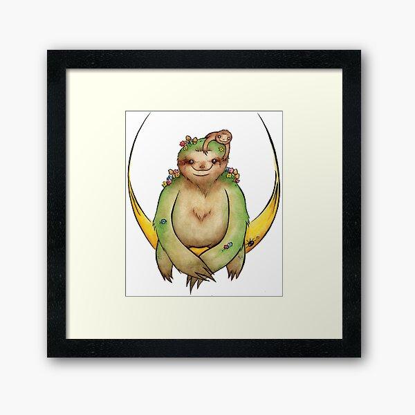 Moon sloth Framed Art Print