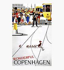 Copenhagen Vintage Travel Poster Restored Photographic Print