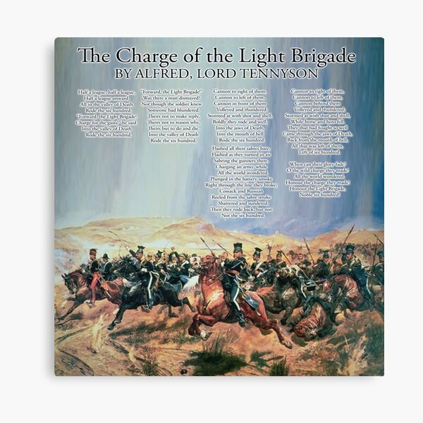 The Charge of the Light Brigade. Poem. Alfred, Lord Tennyson. Canvas Print