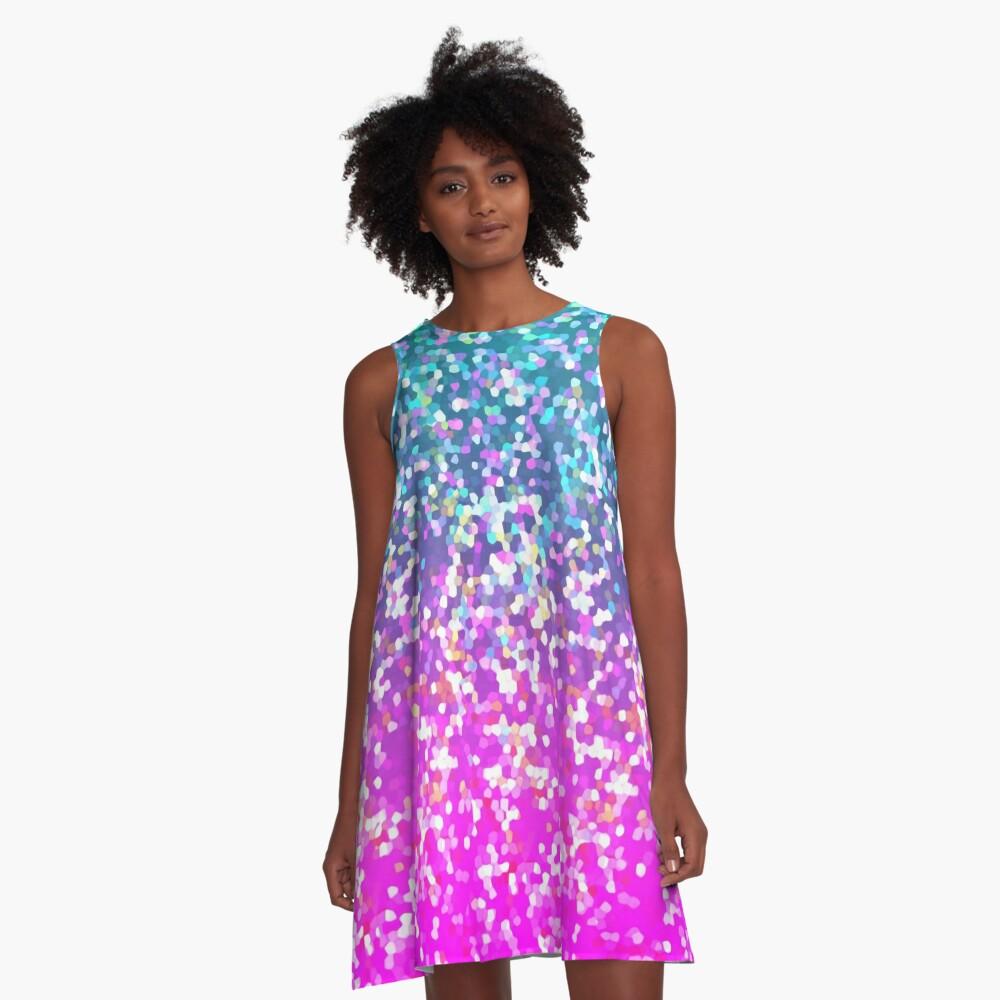 Glitter Graphic A-Line Dress