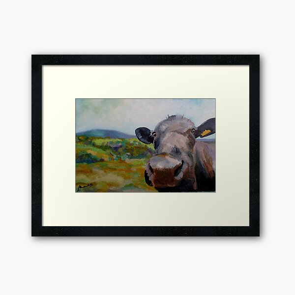 Pendle Cow painting in oils Framed Art Print