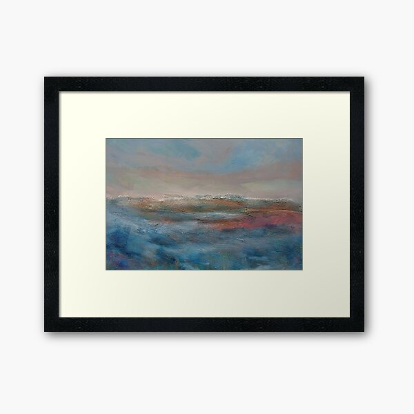 Landscape Painting with oils and sand, Framed Art Print