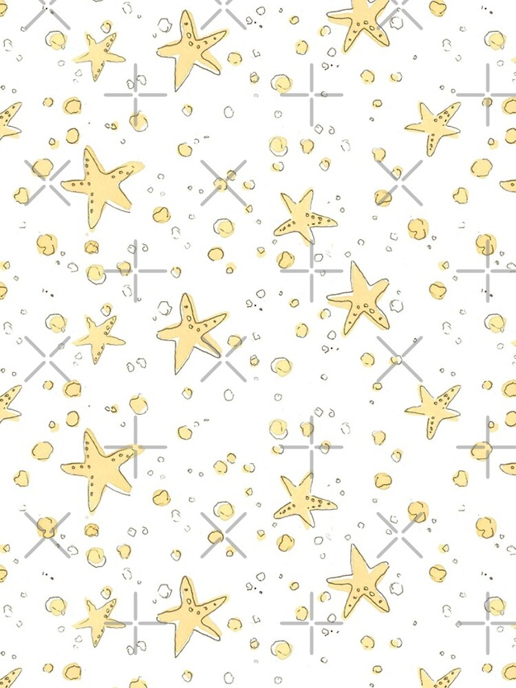 Sand and Starfish Repeating Watercolor Pattern by annieparsons