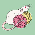 Rat and Roses Albino by Holly Wells . Sweet Illustrations