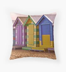 Brighton Beach Bathing Boxes  Throw Pillow