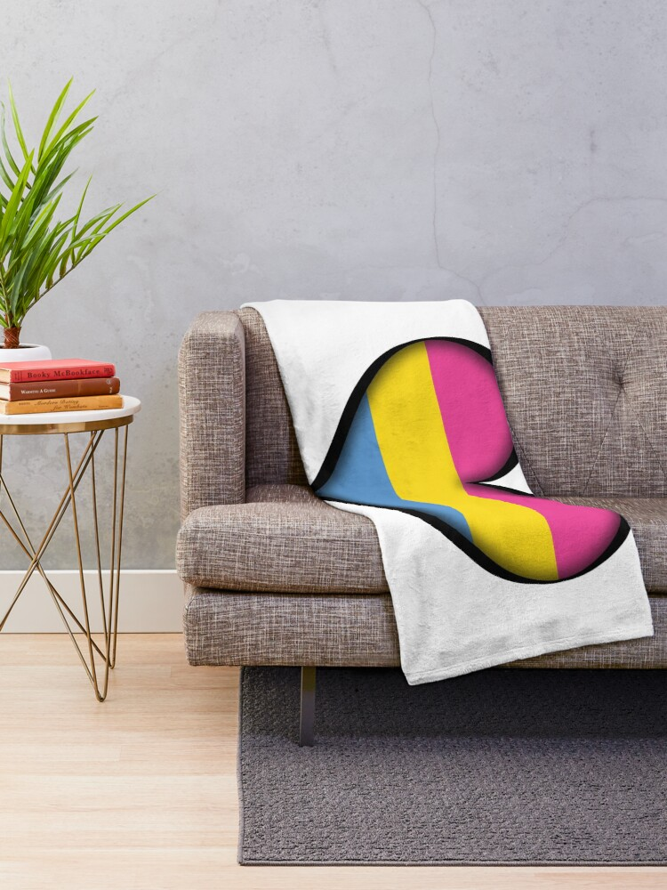 Alternate view of Pansexual Heart Throw Blanket