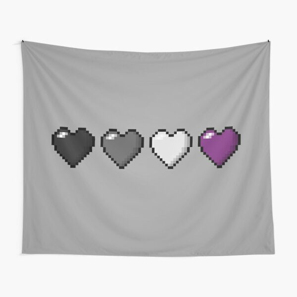 Asexual Pixel Hearts Tapestry