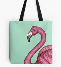 Pink Flamingo on Turquoise Background Tote Bag