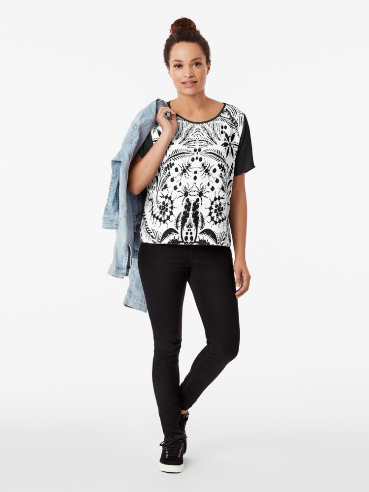 Alternate view of Black and White Jungle Chiffon Top